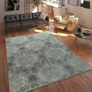 Designer Acryl Teppich Hochwertig Edel Modern Barock 3D Effekt Floral Grau
