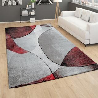 Teppich Wohnzimmer Kurzflor 3D Effekt Abstraktes Muster Geometrisch Grau Rot