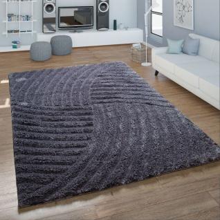 Hochflor Wohnzimmer Teppich Shaggy Wellen Muster Handgetuftet In Grau