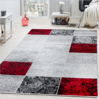 Designer Teppich Kariert Kurzflor Marmor Optik Meliert Modern Grau Schwarz Rot