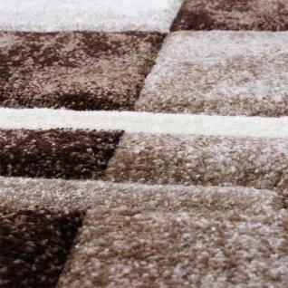 Bettumrandung Teppich Marmor Optik Karo Braun Beige Creme Läuferset 3 Tlg - Vorschau 2