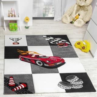 Kinderzimmer Teppich Auto Design Konturenschnitt Grau Creme Schwarz