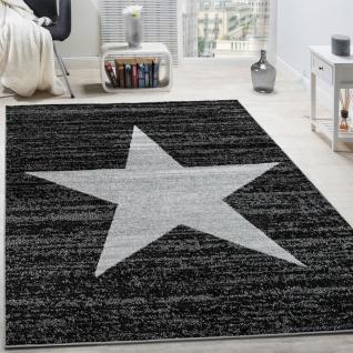 Designer Teppich Stern Muster Modern Trendig Kurzflor Meliert In Anthrazit