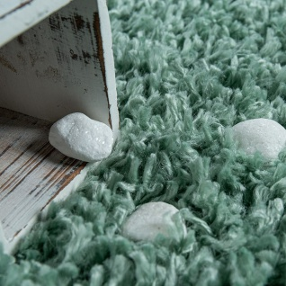 Wohnzimmer Teppich Grün Hochflor Skandi Design Rauten Muster Shaggy Weich - Vorschau 3
