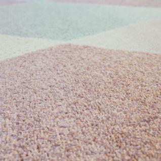 Wohnzimmer Teppich Bunt Retro Design Pastellfarben Rauten Muster Weich Kurzflor - Vorschau 3