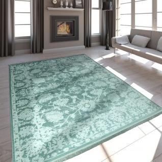 Hochwertiger Wohnzimmer Teppich Modern Satin Optik Barock Design Fransen Mintgrün