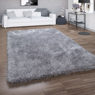 Hochflor-Teppich, Shaggy Für Wohnzimmer, Mit Glitzer-Garn, Einfarbig In Grau