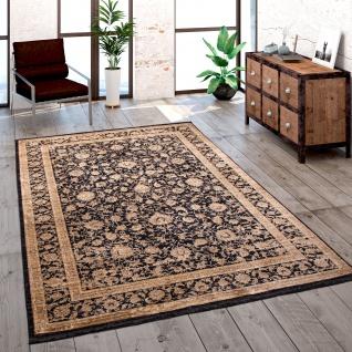 Teppich Wohnzimmer Kurzflor Orient Muster Bordüre Vintage Gold