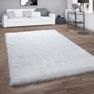 Hochflor-Teppich, Shaggy Für Wohnzimmer, Mit Glitzer-Garn, Einfarbig In Weiß