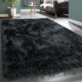 Shaggy Hochflor Teppich Modern Soft Garn Mit Glitzer In Uni Anthrazit Grau