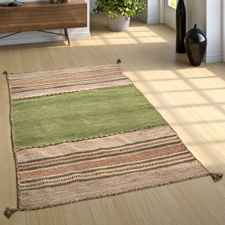 Wohnzimmer Natur Teppich m. Fransen, Handgewebter Muster Kelim, 100% Baumwolle - Vorschau 4