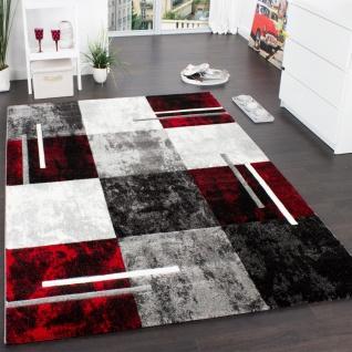 Designer Teppich Modern mit Konturenschnitt Karo Muster Grau Schwarz Rot