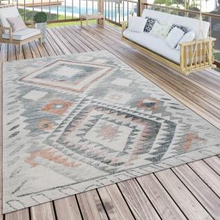 Outdoor Teppich Küchenteppich Balkon Terrasse Ethno Rauten Muster Grau Rot