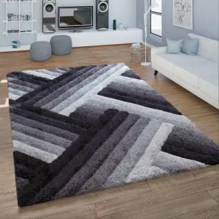 Hochflor Teppich Handgetuftet Zickzack Design Konturenschnitt Kuschelig Grau Weiß