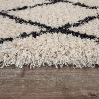 Hochflor Teppich Wohnzimmer Shaggy Skandi Rauten Muster Weich Flauschig In Creme - Vorschau 2