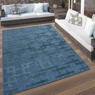 In- & Outdoor Terrassen Teppich Modernes Kreuz Muster In Blau - Vorschau 1