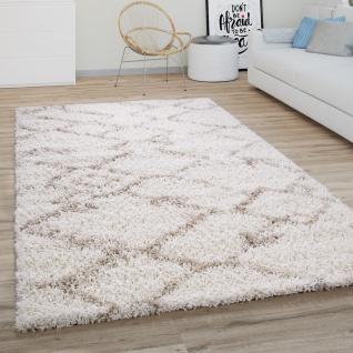 Hochflor Teppich Wohnzimmer Shaggy Modernes Skandi Rauten Muster Creme Beige