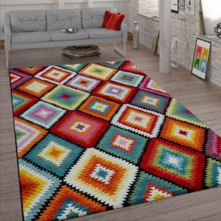 Wohnzimmer-Teppich, Kurzflor Mit Rauten-Muster, Retro-Look Und 3-D-Effekt, Bunt