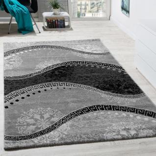 Designer Teppich Mit Glitzergarn Wellen Ornamente Gemustert In Grau Anthrazit