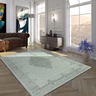 Hochwertiger Acryl Kurzflor Teppich Barock Muster Modern Vintage Optik In Grau