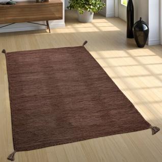 Designer Teppich Webteppich Kelim Handgewebt 100% Baumwolle Modern Meliert Braun