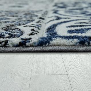 Wohnzimmer Teppich Orient Muster Indigo Blau Weiss Grau Kurzflor