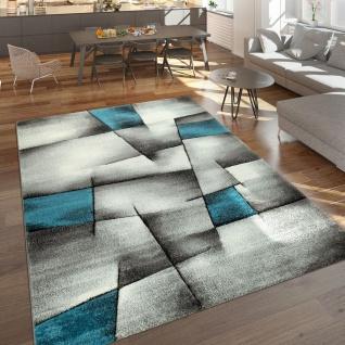 Designer Teppich Mit Konturenschnitt Moderne Muster Abstrakt Grau Türkis Meliert