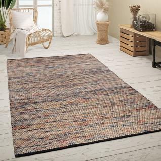 Teppich Wohnzimmer Kurzflor Handgewebt Modern Meliertes Ethno Muster Mehrfarbig