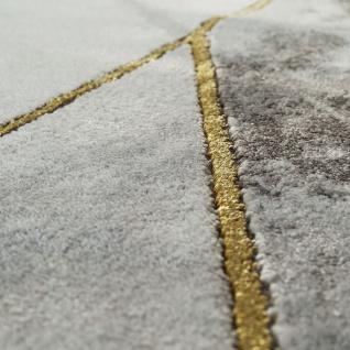 Wohnzimmer Teppich Grau Gold 3-D Bordüre Marmor Muster Strapazierfähig Kurzflor - Vorschau 3