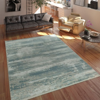 Wohnzimmer Teppich Acrylgarn Shabby Chic Look Fransen 3D Effekt Pastell  Blau Grau