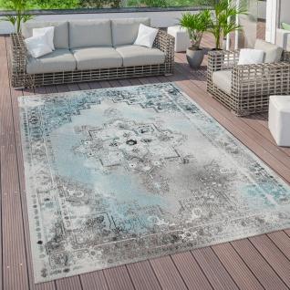 Outdoor Teppich Terrasse Balkon Vintage Küchenteppich Orient Muster Türkis Grau