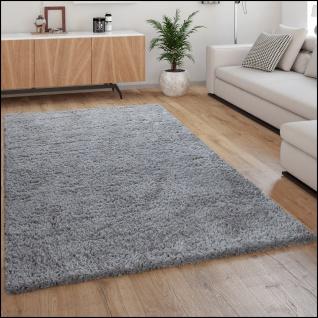 Hochflor-Teppich, Kuschelig Weich, Moderner Einfarbiger Flokati-Teppich In Grau