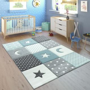Kinderteppich Pastellfarben Kariert Punkte Mond Sterne Weiß Grau Blau