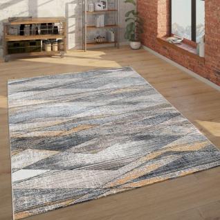Teppich Wohnzimmer Kurzflor Modern Mit Geometrischem Muster, In Grau Braun Gelb