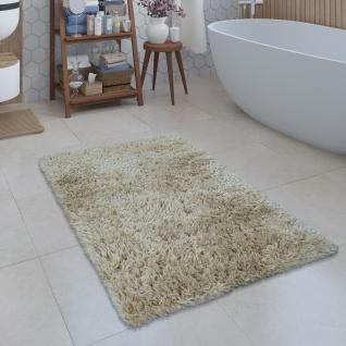 Moderne Badematte Badezimmer Teppich Shaggy Kuschelig Weich Einfarbig Beige