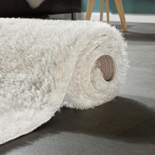 Edler Teppich Shaggy Hochflor Einfarbig Flauschig Glänzend In Weiß - Vorschau 4
