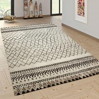 Designer Teppich Modern Skandinavisch Trend Muster Schwarz Creme