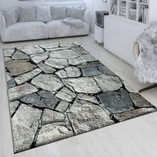 Kurzflor-Teppich Wohnzimmer Grau Weich Used Look verschiedenen Design 3-D Muster