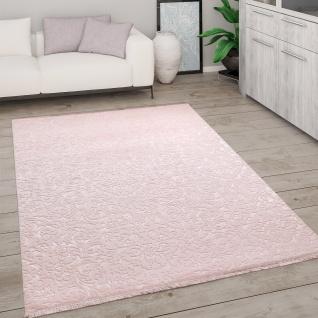 Teppich Wohnzimmer Kurzflor Modern Mit Fransen 3D Effekt Weich Ornamente Rosa