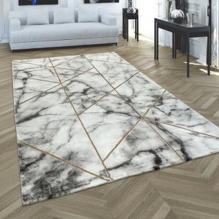 Teppich Wohnzimmer Kurzflor Modernes Marmor Design Geometrisch Grau Gold
