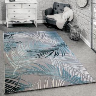 Designer Teppich Modern Wohnzimmer Teppiche 3D Palmen Muster In Grau Türkis Creme - Vorschau 1