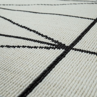 Outdoor Indoor Teppich Weiß 3D Optik Bordüre Skandinavisches Design Kurzflor - Vorschau 4
