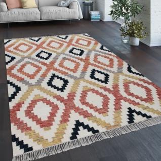 Teppich Wohnzimmer Boho Fransen Handgewebt Wolle Baumwolle Rot Schwarz Gelb Creme