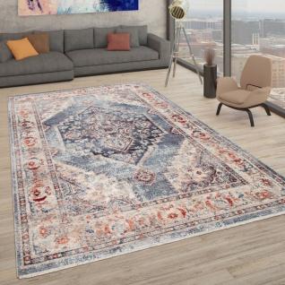 Teppich Mit Orientalischem Muster, Kurzflor-Teppich Für Wohnzimmer, In Blau