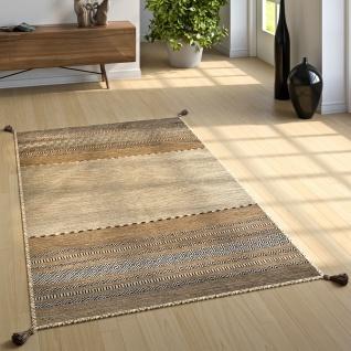 Wohnzimmer Natur Teppich m. Fransen, Handgewebter Muster Kelim, 100% Baumwolle - Vorschau 2