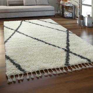 Hochflor Teppich Wohnzimmer Shaggy Skandinavischer Stil Mit Fransen Creme Grau