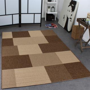 Teppich Modern Flachgewebe Karo Sisal Optik Designer Teppich Natur Beige Creme