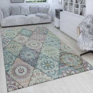 Retro Teppich Bunt Wohnzimmer Rauten Muster Boho Stil Blumen Design 3-D Kurzflor