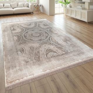 Wohnzimmer-Teppich, Kurzflor Mit Orient-Optik, Used-Optik In Beige
