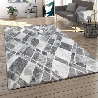 Teppich Wohnzimmer Kurzflor Modern 3D Effekt Vintage Skandi Muster Abstrakt Grau